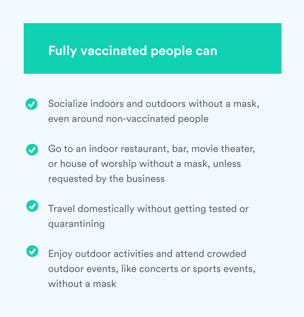 Fully vaccinated people can...